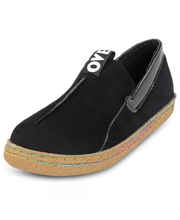 Female Casual Gum Sole Round Toe Slip-on Flat Single Shoes