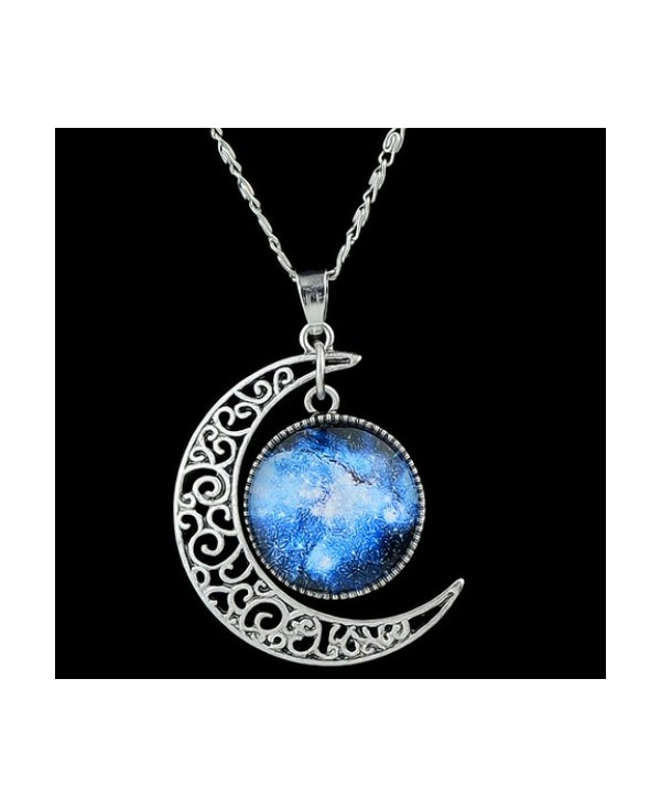 Artificial Gem Moon Round Pendant Necklace
