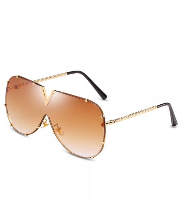 UV400 Conjoined Metal Sunglasses Stylish Eyewear Glasses for Women