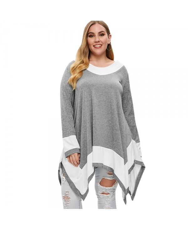 Plus Size Long Sleeve Two Tone Handkerchief T-shirt