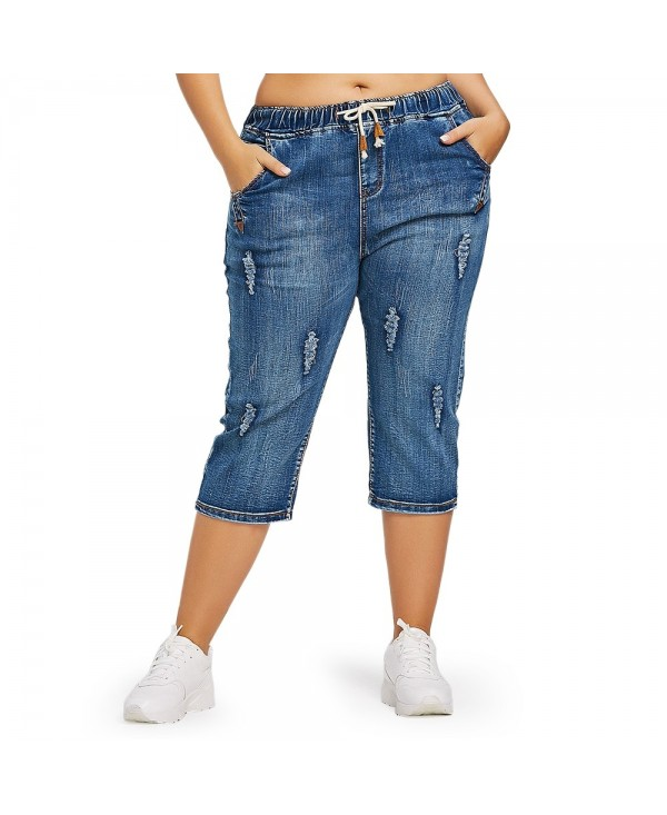 Drawstring Waist Plus Size Ripped Cropped Jeans