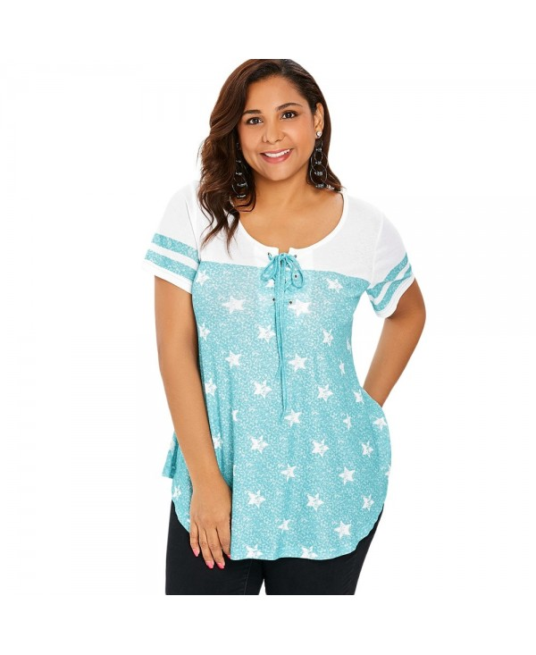 Striped Short Sleeve Star Print Plus Size T-shirt