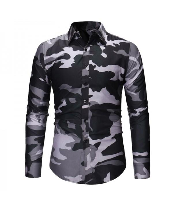 Men's Fashion Camouflage Long Sleeved Shirt