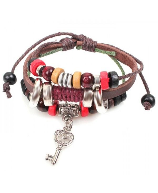 Retro Trendy Key Beaded Multilayer Women Leather Bracelet