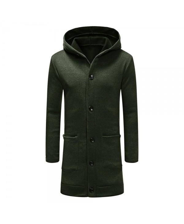 Hooded Collar Button Long Cardigan Sweatshirt for Men