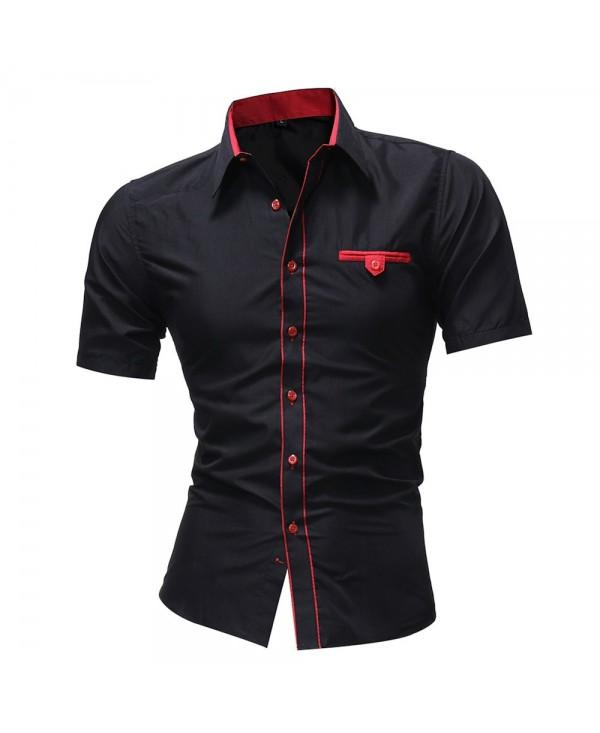 Men'S solid Color Lapel Short Sleeved Shirt