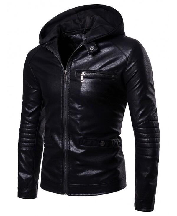 Zip Embellished Solid Color Hooded Jacket