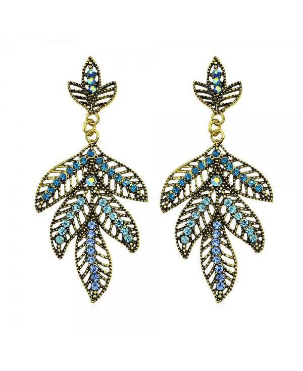 Shiny Rhinestone Hollow Out Leaf Dangle Drop Earrings