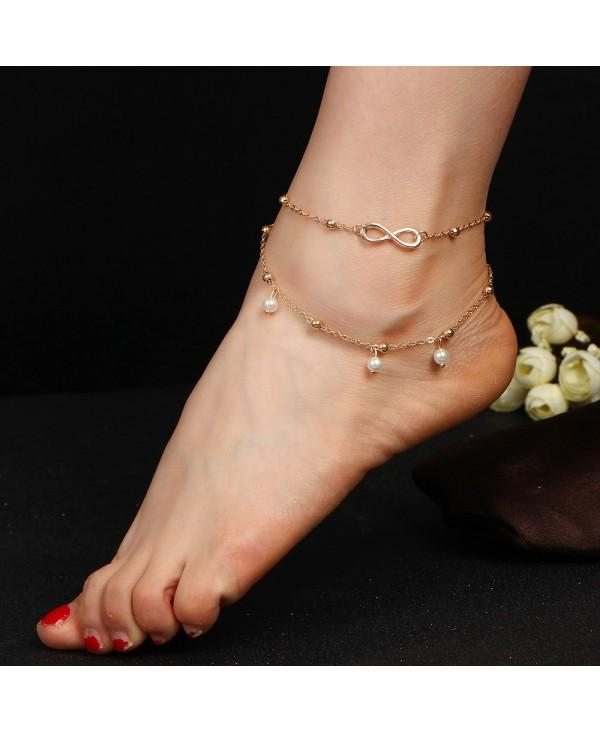 Fashion Alloy 8 Word Infinite Beads Double-Layer Anklet