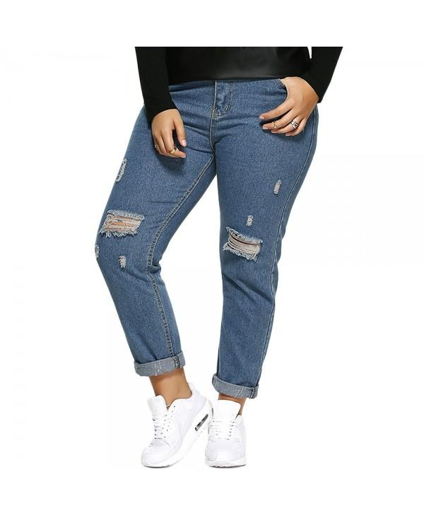 Scratch Zipper Plus Size Distressed Jeans