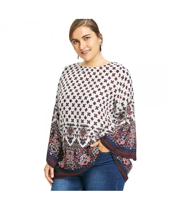 Plus Size Bell Sleeve Tribe Print Blouse