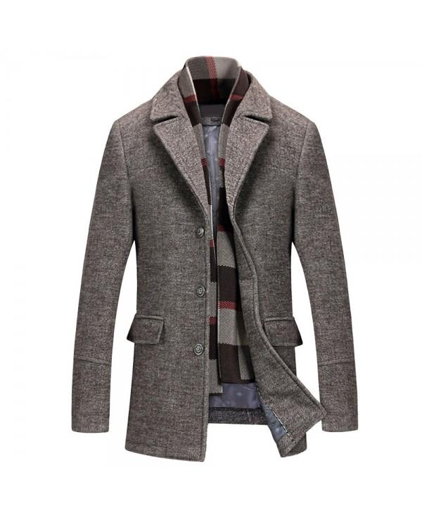 Men's Woolen Casual Windbreaker Coat with Scarf