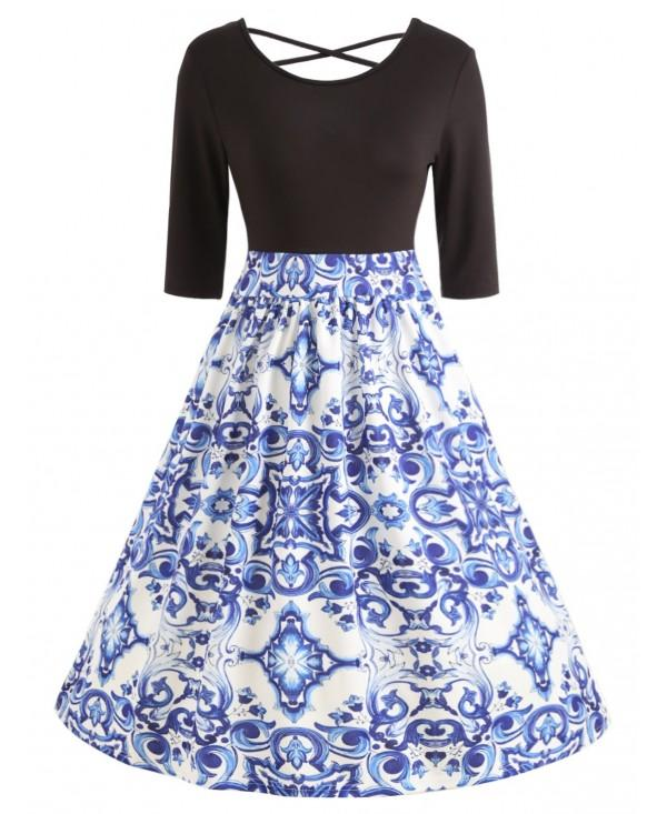 Porcelain Print Dress with Back Criss Cross