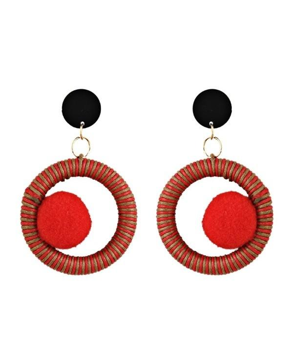 Circle Fuzzy Ball Drop Earrings