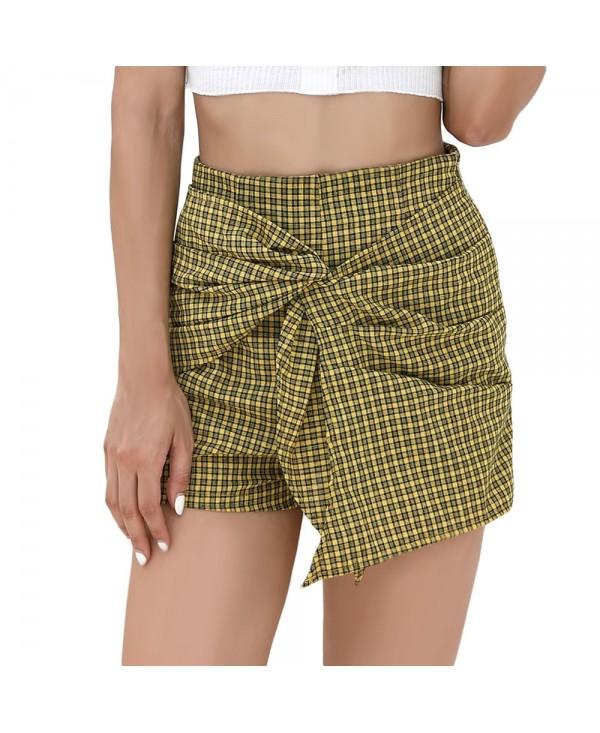 High Waist Plaid Tied Layered Zipper Pants Women Mini Shorts