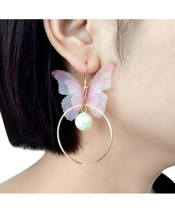 Faux Pearl Yarn Butterfly Circle Earrings