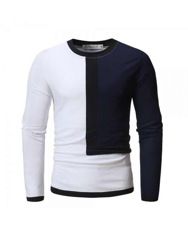 Men's Contrast Long Sleeve Casual Slim T-Shirt