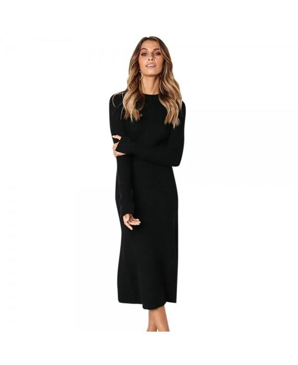 Crew Neck Long Slit Sleeve Solid Color Knit Bodycon Women Midi Dress
