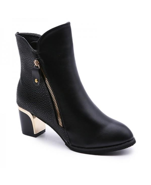 New Winter with Thick British Style Short Canister Female Fall Side Zipper Boots