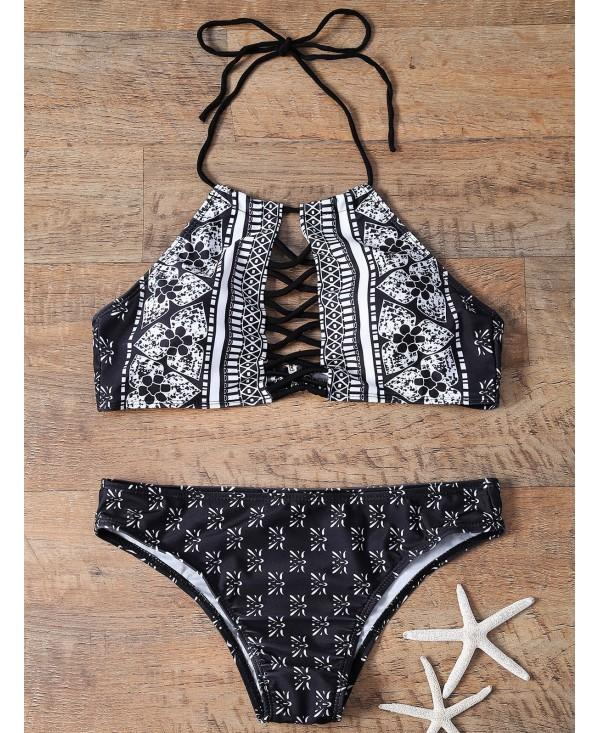 Printed Cutout High Neck Bikini