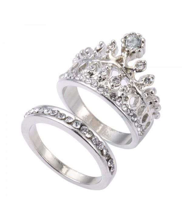 2pcs Crown Design Rhinestone Embellished Rings for Ladies