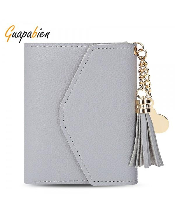 Guapabien Women Foldable Short Wallet Tassel Card Holder