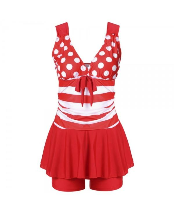 Plunge Neck Backless Padded Polka Dot Stripe Bowknot Swimsuit Mid Waist Women Tankini Set