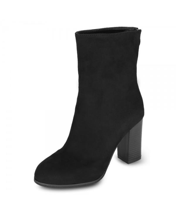 Female Solid Color Pointed Toe Chunky Heel Mid-calf Boots