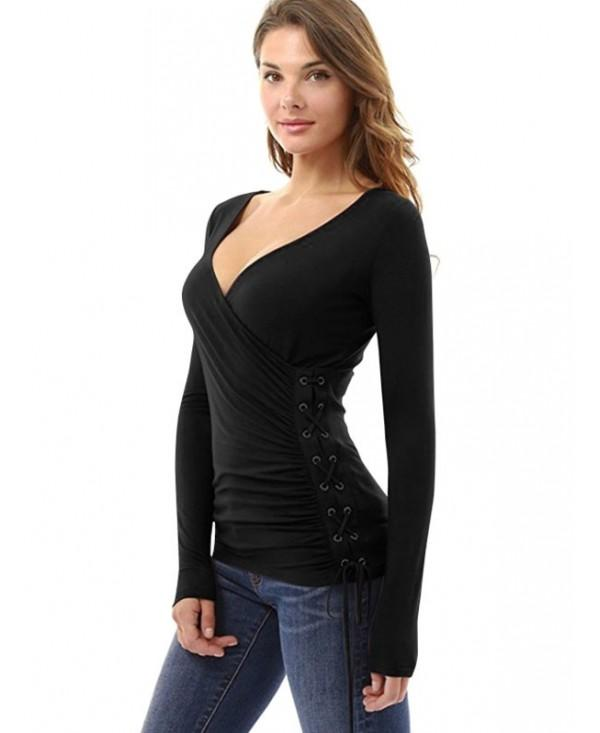 Women Autumn Long Sleeve Lace-up Slim T-shirt