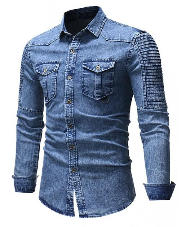 Front Pocket Turn Down Collar Denim Shirt