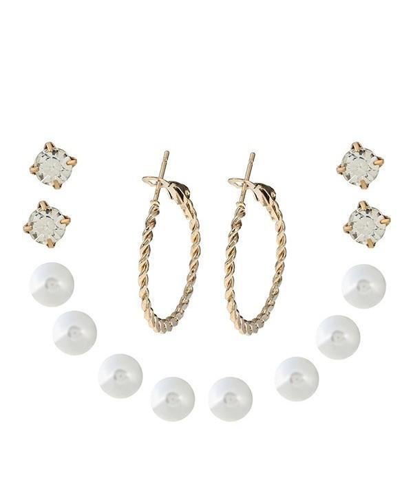 Pearl and Hoop One Set Earrings