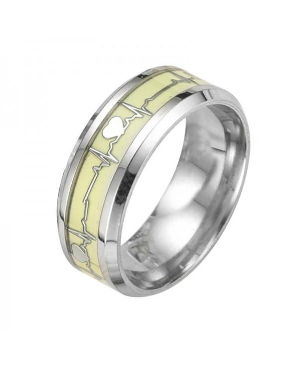 Luminous Heartbeat Ring Stainless Steel Wedding Rings for Men Women Lovers Gift