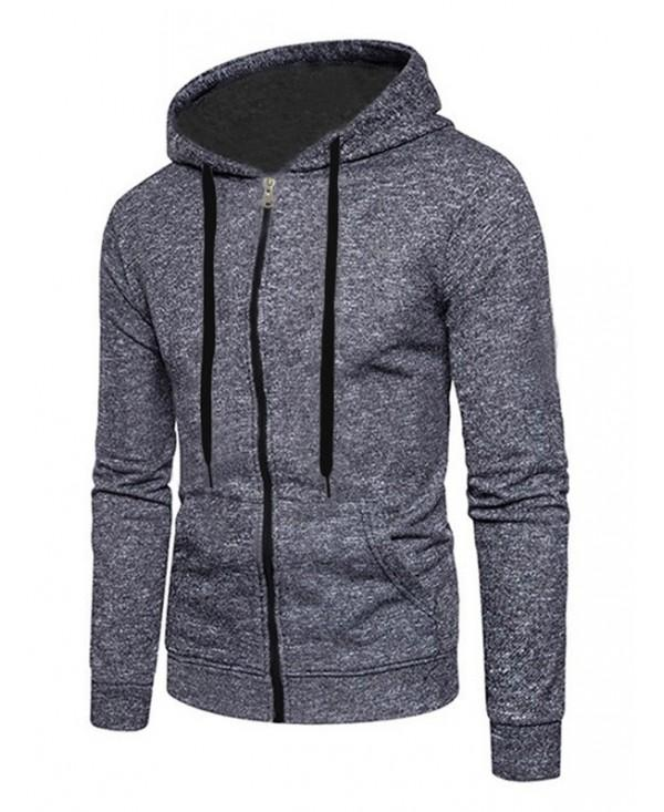 Full Zip Up Kangaroo Pocket Long Sleeve Fleece Hoodie