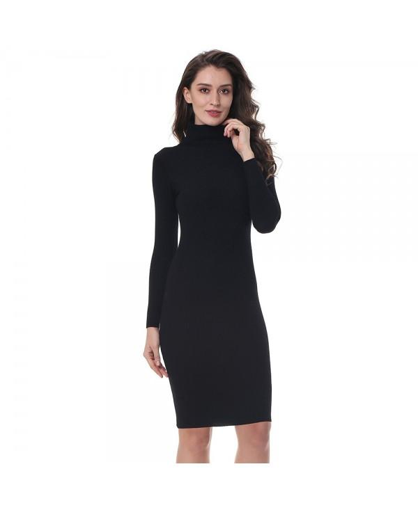 Elastic Turtleneck Long Sleeve Bodycon Slim Midi Knitted Dress