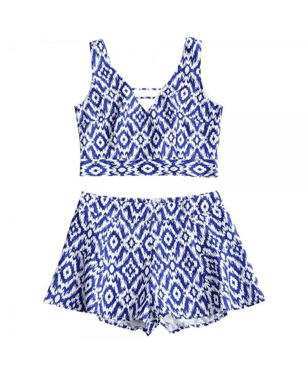 Printed Tied Cropped Top and High Waisted Shorts Set