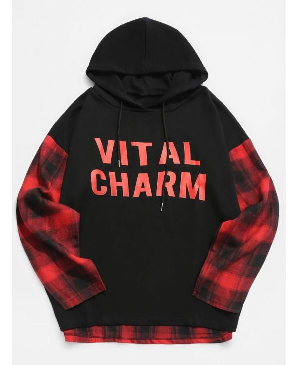 Contrast Plaid Patchwork Letter Print Pullover Hoodie