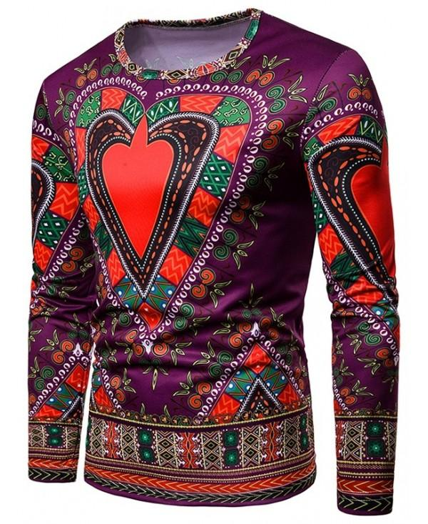 Love Heart Geometrical Print Tee Shirt