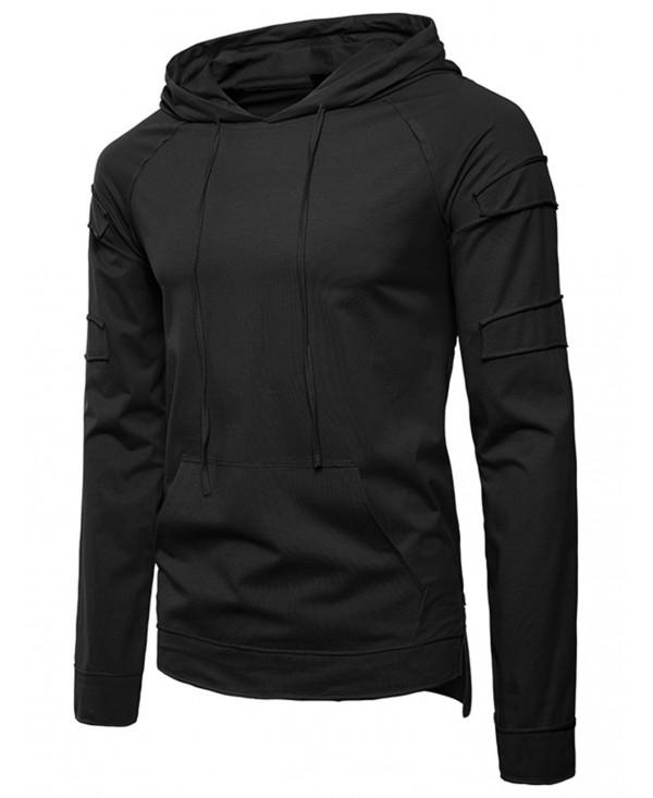 Patch Panel Design Drawstring Hoodie