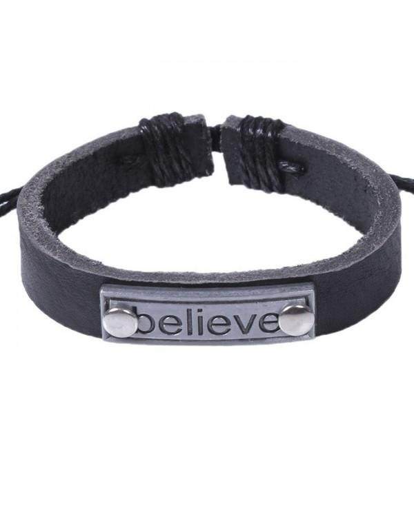 Cool Soft Stylish Unisex Alloy Leather Bracelet