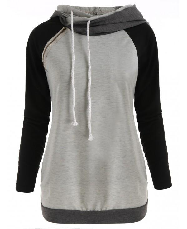 Raglan Sleeve Color Block Zipper Hoodie