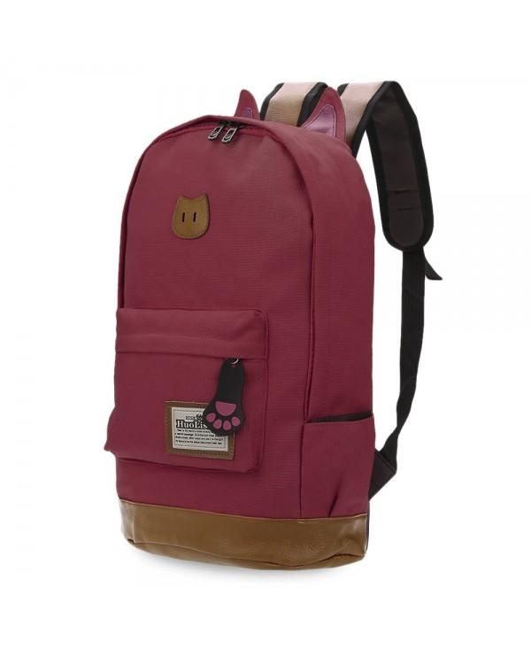 Guapabien Preppy Cat Patchwork Canvas Zipper Backpack