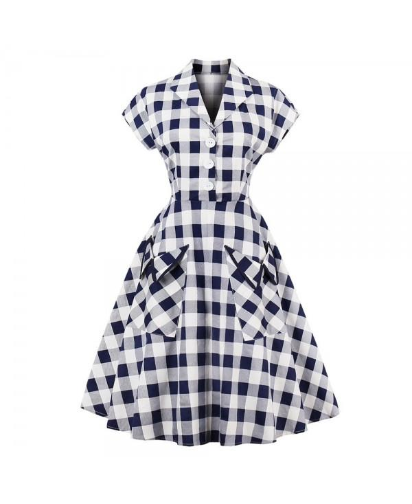 Plaid Lapel With Short Sleeves Dress
