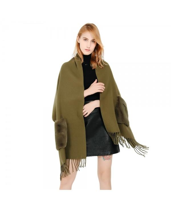 Trendy Fringed Pocket Solid Color Shawl Women Large Scarf