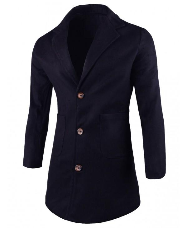 Single-breasted Lapel Wool Blend Coat