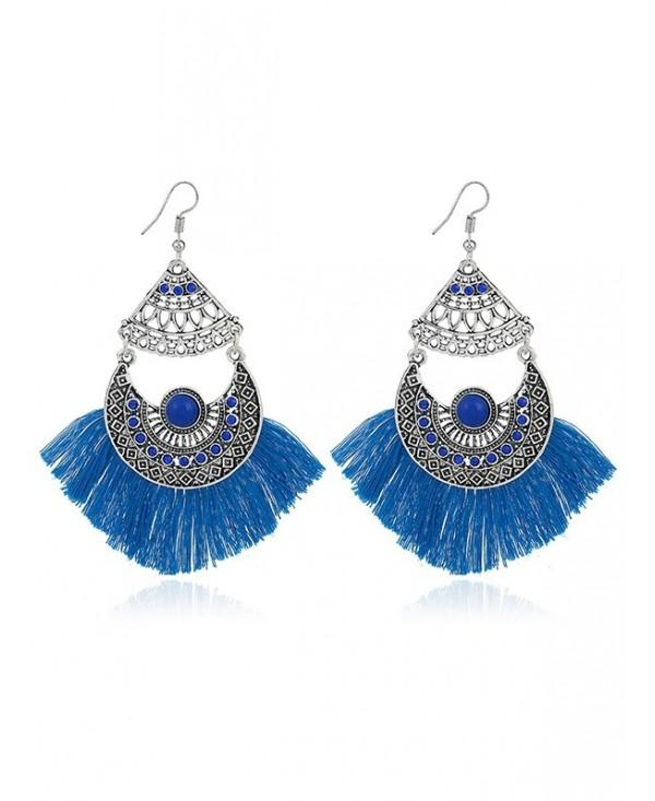 Rhinestone Gypsy Moon Tassel Hook Earrings