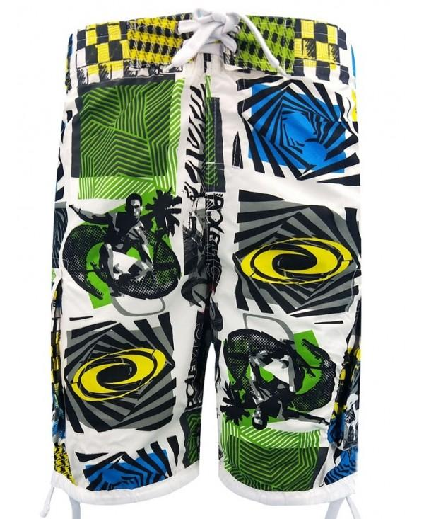 Geometrical Print Drawstring Hem Board Shorts