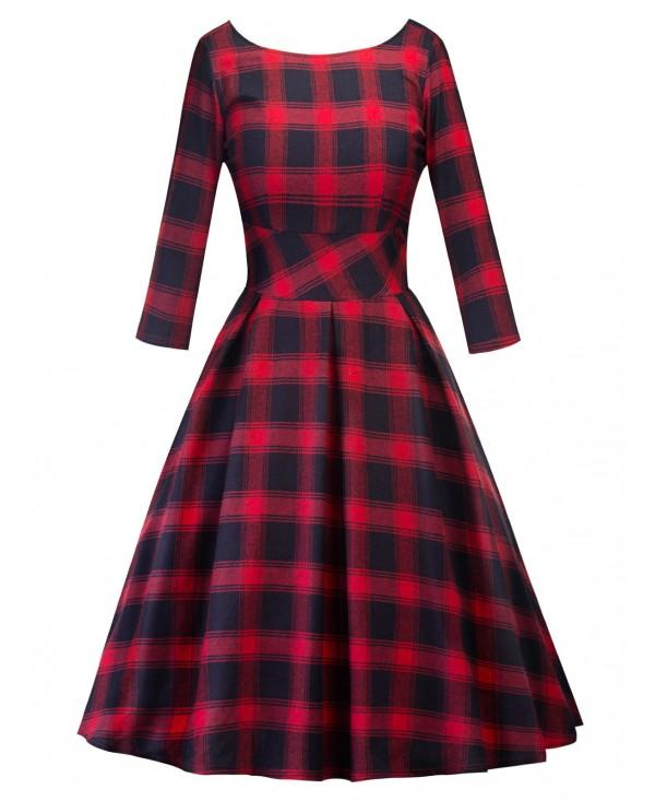 Vintage Plaid Cut Out Fit and Flare Dress
