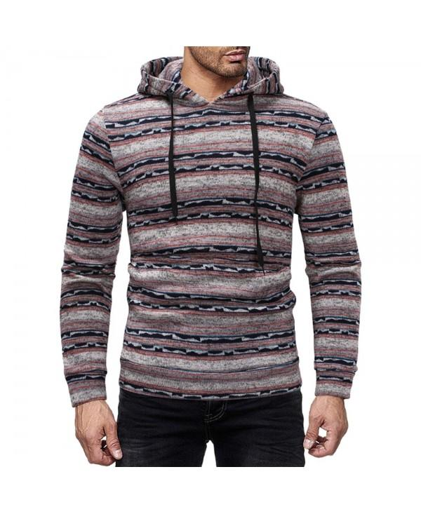 Assorted Colors Stripes Drawstring Long Sleeve Men Knitted Pullover Hoodie