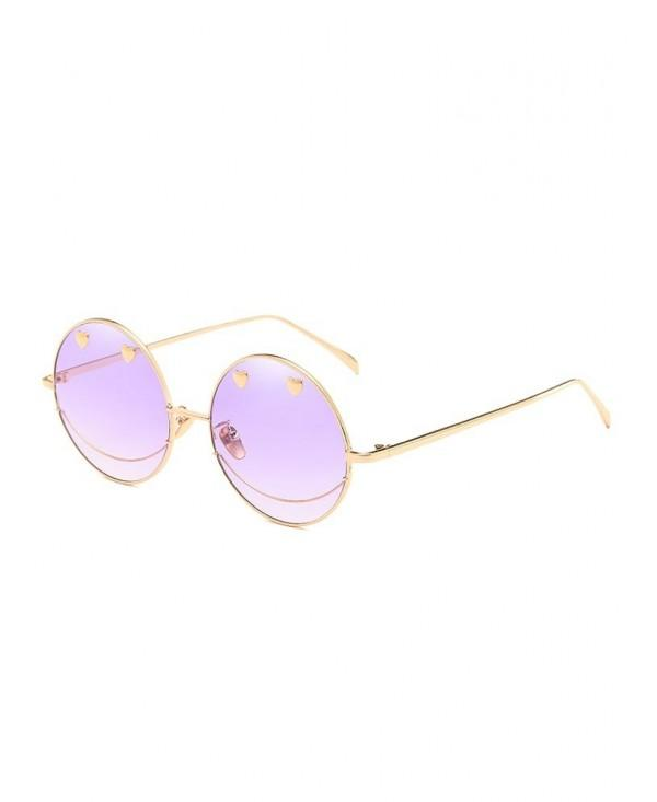 Novelty Metal Heart Decorative Round Sunglasses