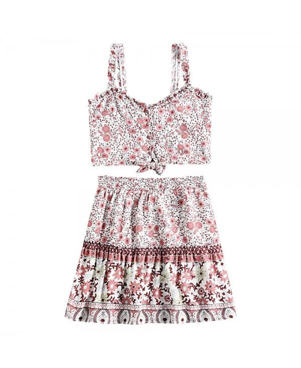Spaghetti Strap Backless Ruffle Floral Print Crop Top Elastic Waist Skirt Women Two-piece Suit